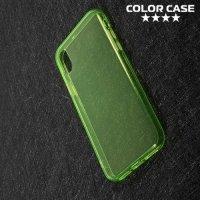 Тонкий силиконовый чехол для iPhone X - Зеленый