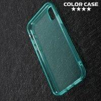 Тонкий силиконовый чехол для iPhone Xs / X - Бирюзовый