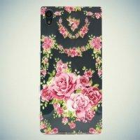 Тонкий силиконовый чехол для Sony Xperia Z5 - с рисунком Розы