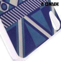 Тонкий силиконовый чехол для Sony Xperia Z3+ с орнаментом Синяя геометрия