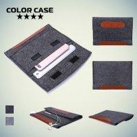 Универсальный чехол из войлока с фиксацией обложки на липучку для планшета 7-8 дюймов - Серый