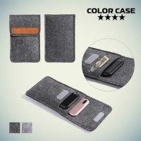 Универсальный чехол из войлока с фиксацией обложки на липучку для смартфона до 5.8 дюймов - Серый