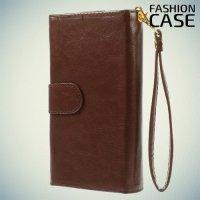 Универсальный чехол кошелек для смартфона с ремешком на руку, магнитной застежкой и отделениями для карт и купюр - Коричневый