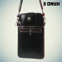 Универсальный чехол сумка на плечо для смартфона 5.5-6 дюймов - Черный