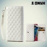 Универсальный чехол футляр сумочка для телефона Ромбус - белый
