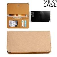 Универсальный чехол кошелек сумочка для телефона 6 дюймов - бежевый