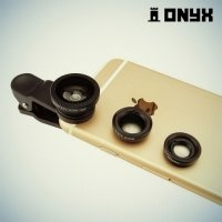 Универсальный объектив зажим 3в1 рыбий глаз, макро и широкоугольный Onyx