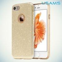 Usams Искрящийся блестящий чехол для iPhone 8/7 - Золотой