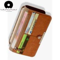 WUW Wallet Case универсальный чехол кошелек из мягкой экокожи для телефонов 5.5 дюймов - Коричневый