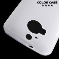 Матовый силиконовый чехол для HTC One М9 Plus - Белый полупрозрачный