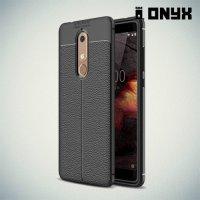 Leather Litchi силиконовый чехол накладка для Nokia 5.1 2018 - Черный