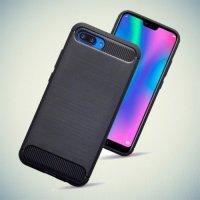 Жесткий силиконовый чехол для Huawei Honor 10 с карбоновыми вставками - Черный