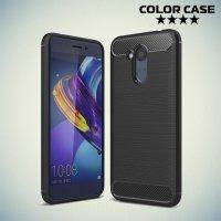 Жесткий силиконовый чехол для Huawei Honor 6C Pro с карбоновыми вставками - Черный