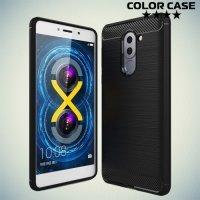 Жесткий силиконовый чехол для Huawei Honor 6x с карбоновыми вставками - Черный
