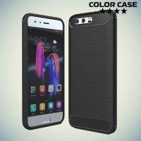 Жесткий силиконовый чехол для Huawei Honor 9 с карбоновыми вставками - Черный
