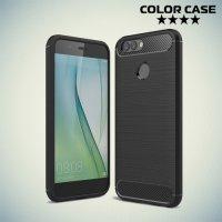 Жесткий силиконовый чехол для Huawei nova 2 Plus с карбоновыми вставками - Черный