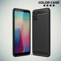 Жесткий силиконовый чехол для Huawei P20 с карбоновыми вставками - Черный