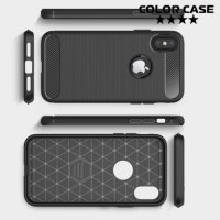 Жесткий силиконовый чехол для iPhone Xs / X с карбоновыми вставками - Черный