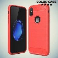 Жесткий силиконовый чехол для iPhone X с карбоновыми вставками - Коралловый
