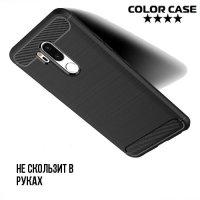 Жесткий силиконовый чехол для LG G7 ThinQ  с карбоновыми вставками - Черный
