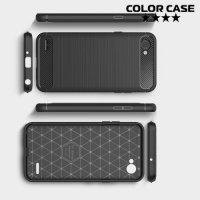 Жесткий силиконовый чехол для LG Q6 M700AN / Q6a M700 с карбоновыми вставками - Черный