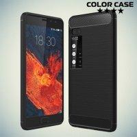 Жесткий силиконовый чехол для Meizu Pro 7 Plus с карбоновыми вставками - Черный