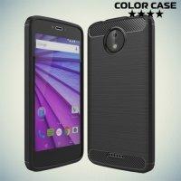Жесткий силиконовый чехол для Motorola Moto C Plus с карбоновыми вставками - Черный