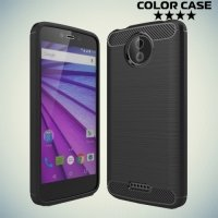 Жесткий силиконовый чехол для Motorola Moto C с карбоновыми вставками - Черный