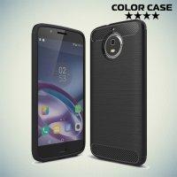 Жесткий силиконовый чехол для Motorola Moto G5S с карбоновыми вставками - Черный