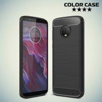 Жесткий силиконовый чехол для Motorola Moto G6 Plus с карбоновыми вставками - Черный