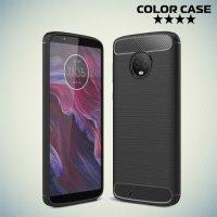 Жесткий силиконовый чехол для Motorola Moto G6 с карбоновыми вставками - Черный