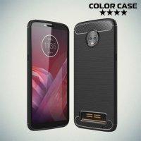 Жесткий силиконовый чехол для Motorola Moto Z3 Play с карбоновыми вставками - Черный