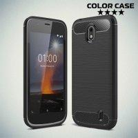 Жесткий силиконовый чехол для Nokia 1 с карбоновыми вставками - Черный