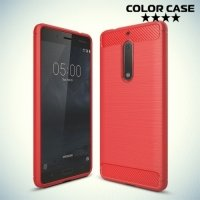 Жесткий силиконовый чехол для Nokia 5 с карбоновыми вставками - Коралловый