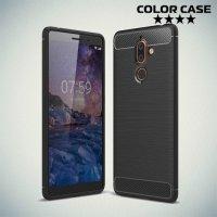 Жесткий силиконовый чехол для Nokia 7 Plus с карбоновыми вставками - Черный