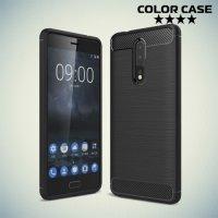 Жесткий силиконовый чехол для Nokia 8 с карбоновыми вставками - Черный