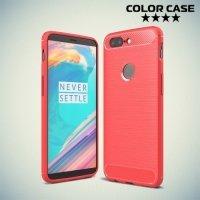 Жесткий силиконовый чехол для OnePlus 5T с карбоновыми вставками - Коралловый