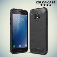Жесткий силиконовый чехол для Samsung Galaxy J2 (2018) SM-J250F с карбоновыми вставками - Черный