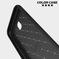 Жесткий силиконовый чехол для Samsung Galaxy J3 2017 SM-J327 с карбоновыми вставками - Черный