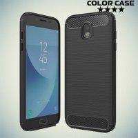 Жесткий силиконовый чехол для Samsung Galaxy J5 2017 с карбоновыми вставками - Черный