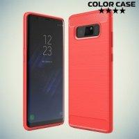 Жесткий силиконовый чехол для Samsung Galaxy Note 8 с карбоновыми вставками - Коралловый
