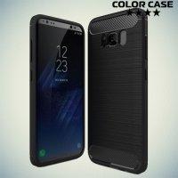 Жесткий силиконовый чехол для Samsung Galaxy S8 Plus с карбоновыми вставками - Черный