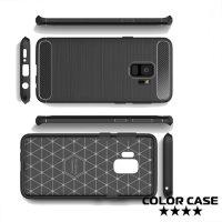 Жесткий силиконовый чехол для Samsung Galaxy S9 с карбоновыми вставками - Черный