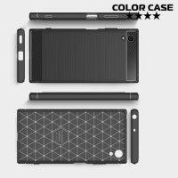 Жесткий силиконовый чехол для Sony Xperia XA1 Plus с карбоновыми вставками - Черный