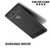 Жесткий силиконовый чехол для Sony Xperia XA2 с карбоновыми вставками - Коралловый