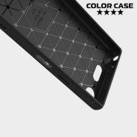 Жесткий силиконовый чехол для Sony Xperia XZ1 Compact с карбоновыми вставками - Коралловый