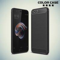 Жесткий силиконовый чехол для Xiaomi Mi Note 3 с карбоновыми вставками - Черный