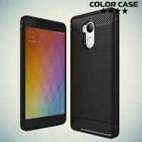 Жесткий силиконовый чехол для Xiaomi Redmi 4 Pro / Prime с карбоновыми вставками - Черный