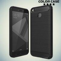 Жесткий силиконовый чехол для Xiaomi Redmi 4X с карбоновыми вставками - Черный