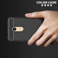 Жесткий силиконовый чехол для Xiaomi Redmi 5 с карбоновыми вставками - Черный